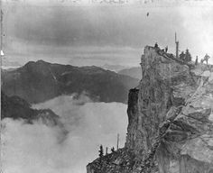 A group of climbers on the Camel Peak of Crown Mountain. Photo taken in 1905 by James Skitt Matthews, courtesy the Vancouver Archives.