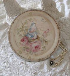 Shabby Vintage Bluebird and Roses Tray
