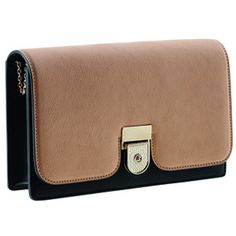 Victoria Beckham Two Tone Clutch in Tan Black Buffalo