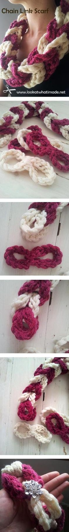 Crochet Chain Link Scarf Crochet Chain Link Scarf Pattern; this looks so easy [: Now I know what to do with all my scrap yarn
