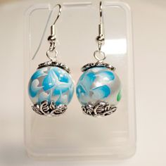 Hand Painted Shell Earring with Antique Pewter Bead Cap.