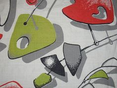 RARE Vtg Atomic Mobile Barkcloth Fabric Drape Panel 3 Avail Red Chartreuse Black | eBay Draped Fabric, Textiles, Kids Rugs, Red, Fabrics, Ebay, Vintage, Home Decor, Black