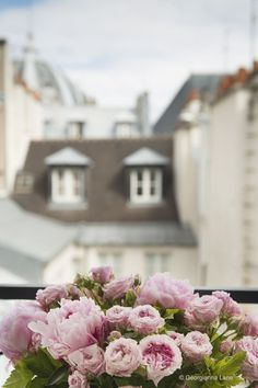Roses and Peonies on a Paris Balcony by Georgianna Lane