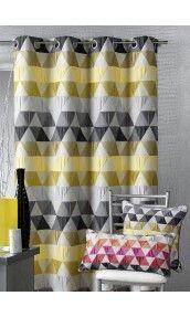 Rideau ameublement Jacquard triangles (Bambou), (Bordeaux), (Mandarine), (Gris), (Prune) - Homemaison : vente en ligne rideaux
