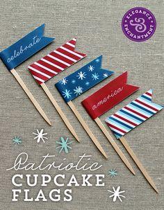 Freebie! 4th of July Cupcake Flags   Elegance & Enchantment