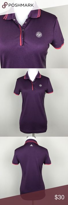 """[Adidas] Roland Garros Paris Tennis Polo Shirt S Women's tennis top. Short sleeve polo. Snap placket. Roland Garros graphic on left chest. Adidas logo on back of neck. Subtle logo stripes down left side. Fitted. Performance fabric.  🔹Pit to Pit: 17"""" 🔹Length: 24"""" 🔹Condition: Excellent pre-owned condition.  *HH10 adidas Tops"""