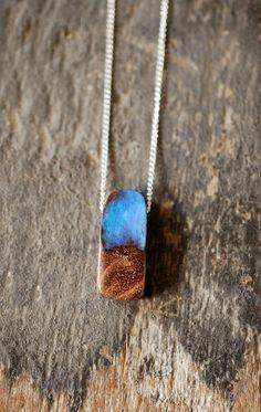 Raw Boulder Opal Pendant.