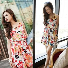 Women's Fashion Nice Colorful Printing Sleeveless Jumper Skirt Dress