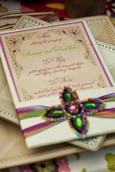 Very elegant! Love the colors and the jewelry to hold the menu.
