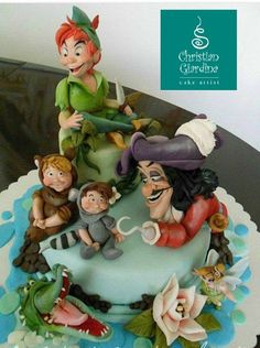 """Captain Hook, Peter Pan and his crew. One of my first cakes …showing some of my favourite Disney's characters. Pretty Cakes, Cute Cakes, Awesome Cakes, Peter Pan Cakes, Movie Cakes, Fantasy Cake, Book Cakes, Character Cakes, Disney Cakes"