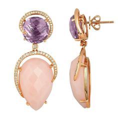 "Stunning Pink Opal and Amethyst Stone Earrings surrounded by Diamonds set in 14K Rose Gold. There are 0.62ct in Diamonds, 26.13ct in Pink Opals, & 9.03ct in Amethyst. The earrings measure 1.5"" x 0.75"". The earrings weigh 13.5 grams."
