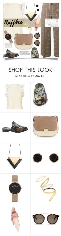 """Afternoon Tea"" by simpleautumn on Polyvore featuring 3.1 Phillip Lim, Balenciaga, Steve Madden, Humble Chic, Daniel Wellington, Madewell, Maybelline, STELLA McCARTNEY, ruffles and ruffledtops"
