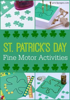 Shamrock Fine Motor Activities. A collection of super fun fine motor activities for your preschool kids to do at home or school.