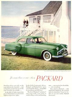 Packard Beach House 1951 - www.MadMenArt.com | Vintage Cars Advertisement. Features over 1200 of the finest vintage cars until 1970.