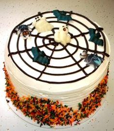 Spooooky spiderweb cake by Mueller's Bakery!