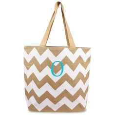 Cathy's Concepts Personalized Chevron Print Jute Tote ($30) ❤ liked on Polyvore featuring bags, handbags, tote bags, monogrammed jute tote, white purse, zip top tote, chevron jute tote bags and chevron print purse