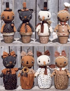 Cloth Doll Making Sewing Patterns by Ginny Lettorale Happy Heart Patterns Vintage Halloween Crafts, Primitive Halloween Decor, Halloween Doll, Primitive Crafts, Diy Halloween Decorations, Holiday Crafts, Doll Crafts, Cute Crafts, Crafts To Do