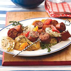 Turkey Kielbasa Kebabs with Peppers and Fennel Recipe