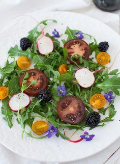 Arugula and Sweet Violet Salad at Cooking Melangery
