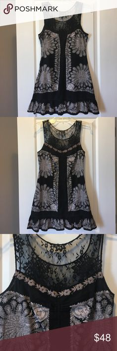 Free People Lace + Linen Dress Black and grey Free People Lace + Linen mini dress. Lace detail with embroidered grey flowers on top. Linen throughout the body and cute ruffled bottom. Free People Dresses Mini