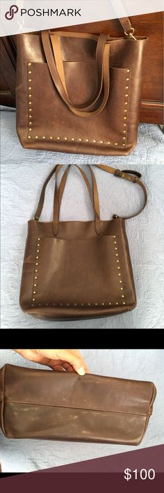 Madewell Studded Medium Transport Tote Madewell studded medium transport tote. Great condition. Only used for about a month. Some scratches as seen in photos and markings on bottom of bag. Beautiful rich chocolate color. Dimensions: 12.5 H x 11 W x 5.5 D item# f9401 Madewell Bags Totes