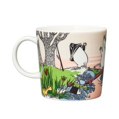 The Moomin 2019 Summer Seasonal Mug is only available from April until the end of August. The Mug shows the Moomin family on holiday when they take a Moomin Mugs, Pirate Cat, Diving Board, Tove Jansson, Desert Island, Helsingborg, Marimekko, Family Holiday, Pink And Green