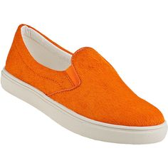 STEVE MADDEN Ecentric Slip-On Sneaker Orange Hair Calf (1,785 THB) ❤ liked on Polyvore featuring shoes, sneakers, flats, orange hair calf, flat heel shoes, pull on shoes, orange flat shoes, orange shoes and flats sneakers