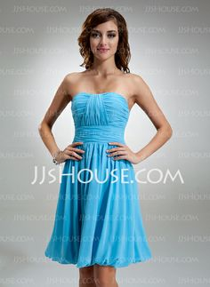 Bridesmaid Dresses - $84.99 - A-Line/Princess Sweetheart Knee-Length Chiffon Bridesmaid Dresses With Ruffle..different colors availalbe