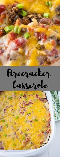 Firecracker Casserole is an old tex-mex dish that combines all your favorites like tomatoes, jalapenos, ranch style beans and corn tortillas. Entree Recipes, Mexican Food Recipes, Cooking Recipes, Casserole Dishes, Casserole Recipes, Burrito Casserole, Steak And Broccoli, Best Casseroles, Ground Beef Recipes