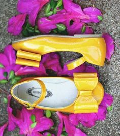 Sunshine yellow bow tie girls' shoes