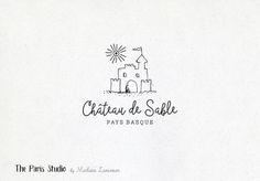 Hand Drawn Style Sand Castle Logo Design by Madame Levasseur, The Paris Studio