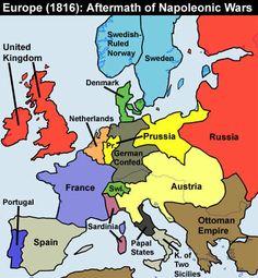 Europe 1816 - Aftermath of Napoleonic Wars