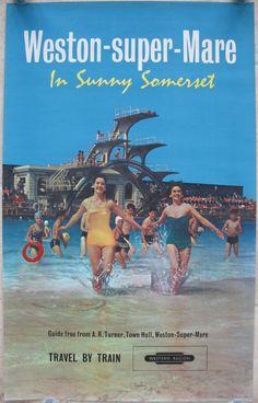 Original Railway Poster Weston-super-Mare - In Sunny Somerset. Available on originalrailwayposters.co.uk