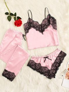 To find out about the Floral Lace Satin Cami PJ Set With Pants at SHEIN, part of our latest Night Sets ready to shop online today! Cute Sleepwear, Lingerie Sleepwear, Lingerie Set, Nightwear, Women Lingerie, Lingerie Outfits, Pretty Lingerie, Pajama Outfits, Cute Outfits