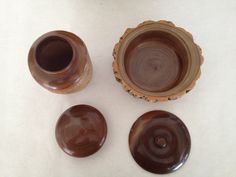Turned Wood Set  of Bowls and Canister  1950's Rustic Wares  Cabin, Lodge, Woodland Appeal. $58.00, via Etsy.