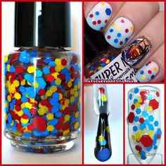 """""""Superman"""" Superhero Blue Yellow Red DC Comic Indie Handmade Glitter Nail Polish #HandmadeIndie : I don't think there is one Polish from this Seller that I don't like! I love the Color Combo here and the Big Pieces of Glitter!"""