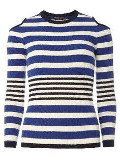 Dorothy Perkins Womens Blue Stripe Cold Shoulder Jumper- Blue Knitted cold shoulder jumper with blue stripes across the body. Wearing length is approximately 63.5cm. 83% Cotton, 17% Nylon. Machine washable. http://www.MightGet.com/april-2017-1/dorothy-perkins-womens-blue-stripe-cold-shoulder-jumper-blue.asp