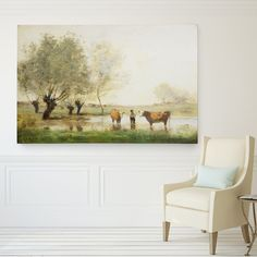 Wexford Home 'Cows in Landscape' Print Format: Wrapped Canvas, Size: H x W x D Painting Frames, Painting Prints, Canvas Prints, Framed Prints, Paintings, Farmhouse Landscaping, Landscaping Ideas, Backyard Landscaping, Landscape Prints