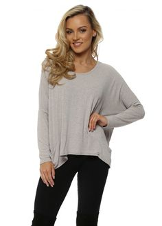 A POSTCARD FROM BRIGHTON Chalk Melange Pammy Slouch Jersey Top