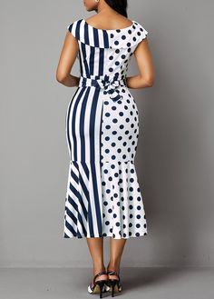 Belted Stripe and Dot Print Ruffle Trim Dress Dresses For Sale, Dresses Online, Hope Fashion, French Street Fashion, Casual Dress Outfits, Couture, Classy Dress, Ruffle Trim, Women's Fashion Dresses