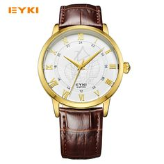 Luxury Brand Eyki Men Quartz Wrist Watch Couple Lovers Roman Scale Ship Leather Strap Waterproof Watch Male Female Watches #Affiliate