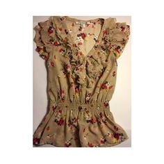 Forever 21 Floral Blouse Ruffled, Multi-color floral blouse with a beige undertone Forever 21 Tops Blouses