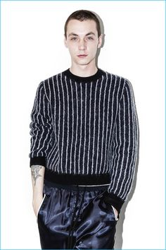 3.1 Phillip Lim Men's Cropped Boxy Pullover Pinstripe Sweater