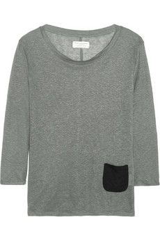 Chinti and ParkerContrast-pocket linen-jersey top