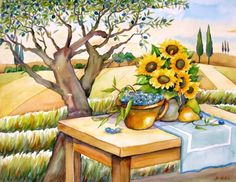 """Summer in Tuscany"", painting by artist Meltem Kilic"