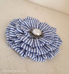 Navy White Seersucker Flower Hair by FabulousFinds on Etsy