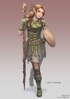 """bch-art: """" A new PC has joined the party! Yesta Fenritas, Elven Druid """""""
