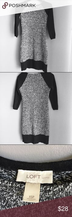 LOFT Black and white sweater dress Soft black and white marbled sweater dress. Can be worn over a white collared blouse for a more professional look for work, or with boots for a fun casual look. LOFT Dresses Long Sleeve
