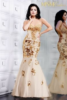 White/Nude & Gold Evening Gown