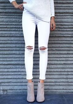White Plain High Waisted Fashion Nine's Jeans